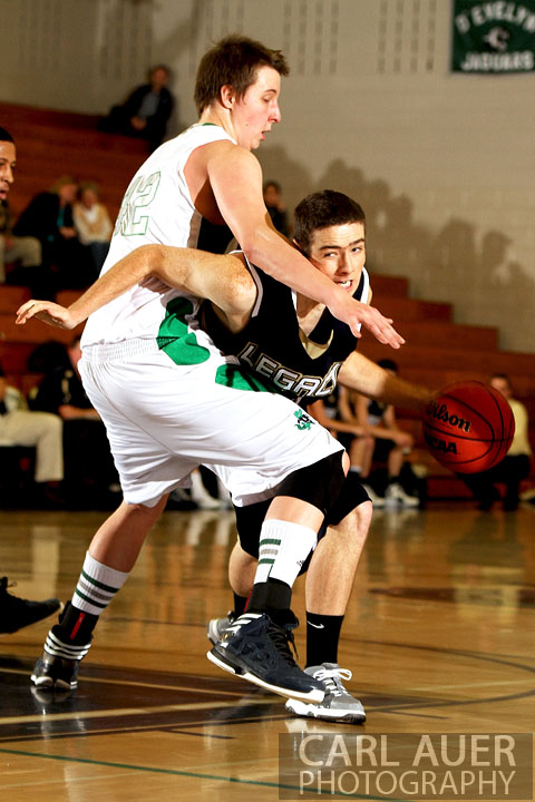 December 12, 2012: A Legacy High School Varsity basketball player tries to get around the defense of a Standley Lake player in Thursday nights game at Standley Lake.