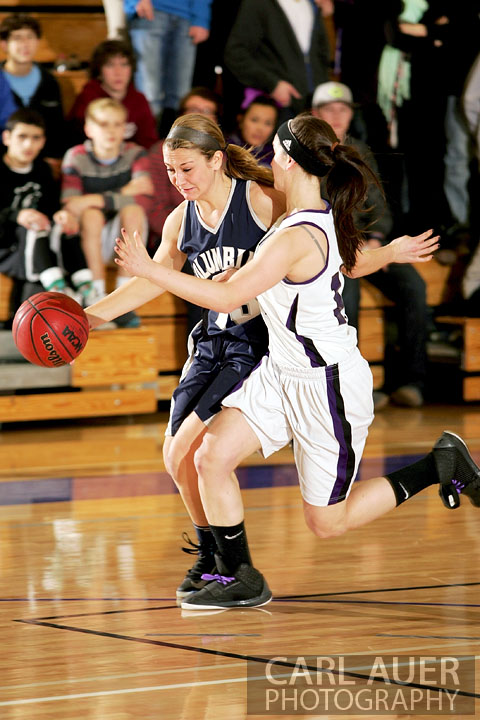 January 15th, 2013:  A Columbine player brings the ball up court against the Arvada West defense Tuesday night at Arvada West High School.