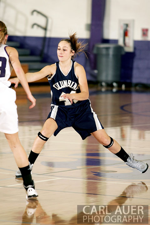 January 15th, 2013:  A Columbine player passes the ball in the game against the Arvada West Wildcats Tuesday night at Arvada West High School.