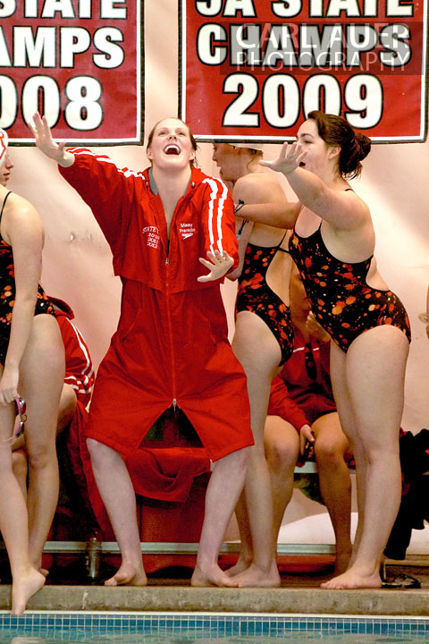 January 8th, 2013: Regis Jesuit High School swimmer and Olympic Gold medalist Missy Franklin and a teammate relive the Justin Bieber concert from the night before during the dual meet between Regis Jesuit and Highlands Ranch on Tuesday evening in Aurora, Colorado