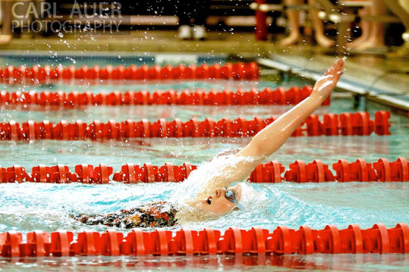 January 8th, 2013: Regis Jesuit High School swimmer and Olympic Gold medalist Missy Franklin doing a back stroke in one of her 4 heats during the dual meet between Regis Jesuit and Highlands Ranch on Tuesday evening in Aurora, Colorado
