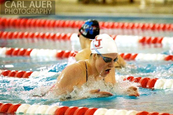 January 8th, 2013: Regis Jesuit High School swimmer and Olympic Gold medalist Missy Franklin doing a breast stroke in one of her 4 heats during the dual meet between Regis Jesuit and Highlands Ranch on Tuesday evening in Aurora, Colorado
