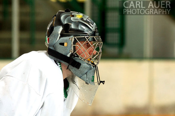 January 4th, 2013: The Standley Lake Gator goalie in the game against the Columbine Rebels at the Ice Center at the Promenade in Westminster, CO on Friday night.