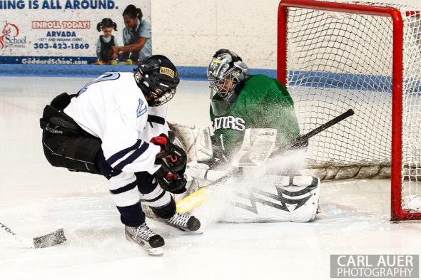 February 22, 2013: Arvada, Colorado - Standley Lake Gators goalie Vincent Case let just one puck get past him in the 2-1 Gators victory over Valor Christian in their playoff game at the Apex Center in Arvada