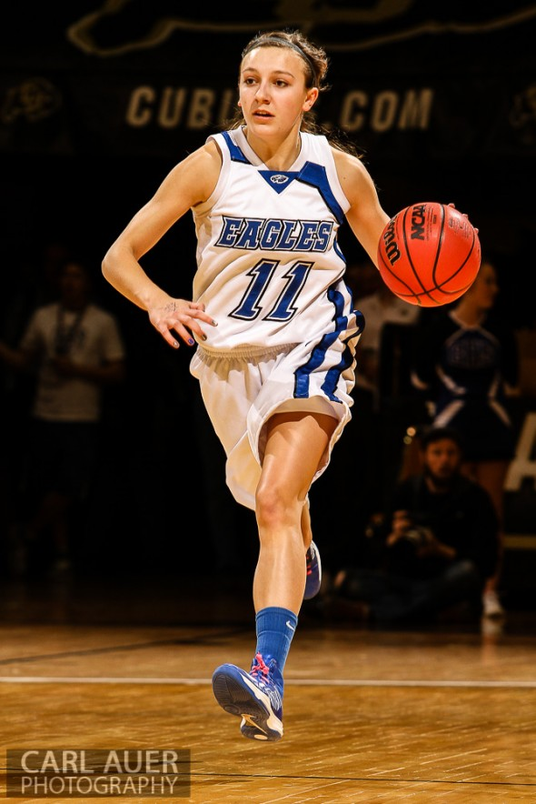 March 14th, 2013:  Broomfield Eagles senior Katie Croell (11) brings the ball up the court in the CHSAA 4A Girls Final Four game against the Pueblo South Colts at the Coors Events Center in Boulder, Colorado