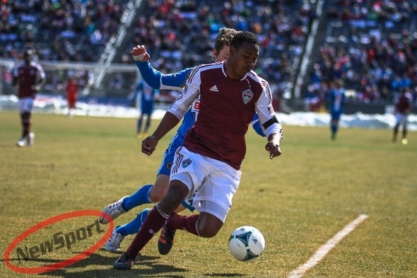 March 10th, 2013 Commerce City, CO - Colorado Rapids defender Diego Calderón (5) attempts to keep the ball away from Philadelphia Union forward Antoine Hoppenot (29) in the second half of action in the MLS soccer game between the Philadelphia Union and the Colorado Rapids at Dick's Sporting Goods Park in Commerce City, CO