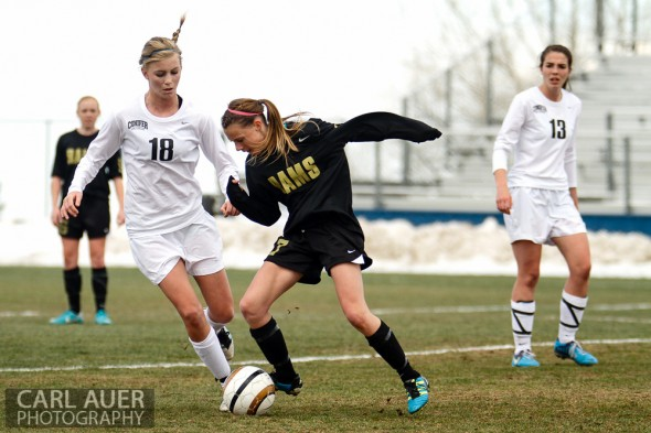 The Green Mountain Rams girls soccer team won Friday's away conference game against Conifer by a score of 2-1.