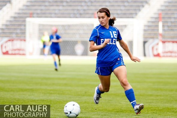 May 22, 2013 - A Broomfield Eagles player brings the ball down the field in the CHSAA 4A Girls Soccer Championship Game against the Cheyenne Mountain Indians at Dick's Sporting Goods Park in Commerce City, Colorado
