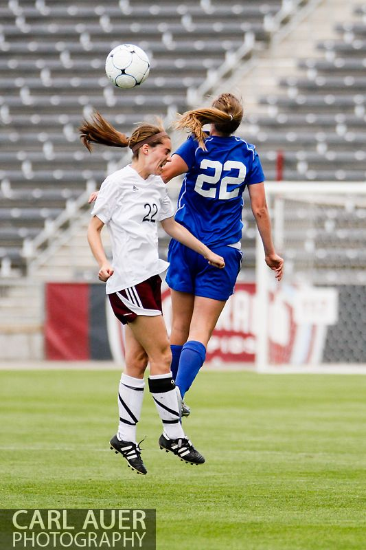 May 22, 2013 - Cheyenne Mountain Indians senior midfielder Amy Eckert (22) is out jumped by a Broomfield Eagles player in a header attempt during the CHSAA 4A Girls Soccer Championship Game at Dick's Sporting Goods Park in Commerce City, Colorado