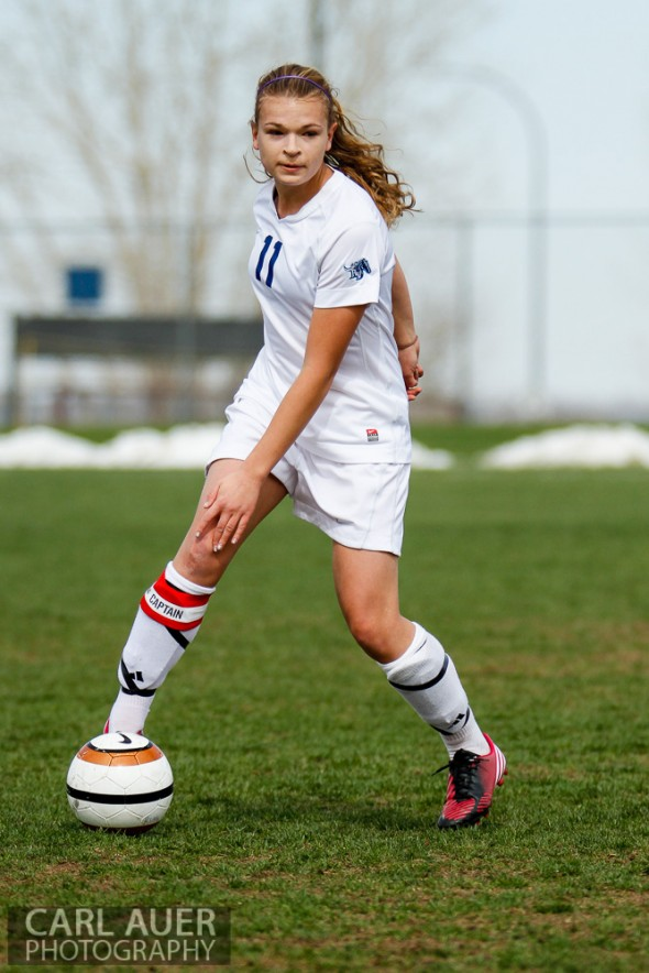 May 3rd, 2013: Ralston Valley Mustangs senior midfielder Sierra Cymes (11) controls the ball in the Mustangs game against the Pomona Panthers at the North Area Athletic Complex in Arvada, Colorado
