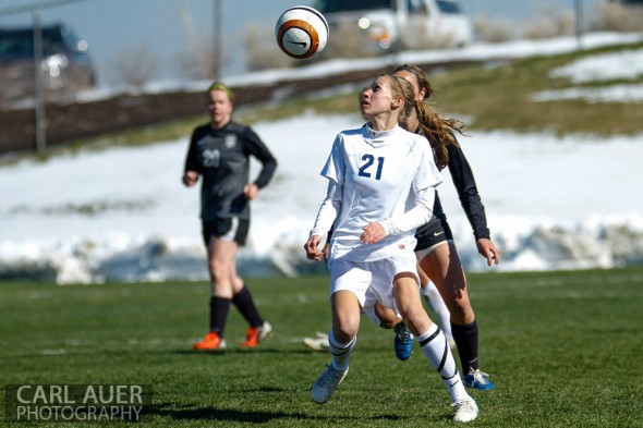 May 2nd, 2013: Ralston Valley Mustang sophomore midfielder Nicholle Knopp (21) watches as the ball comes down in front of her in the game against the D'Evelyn Jaguars at the North Area Athletic Complex in Arvada, Colorado