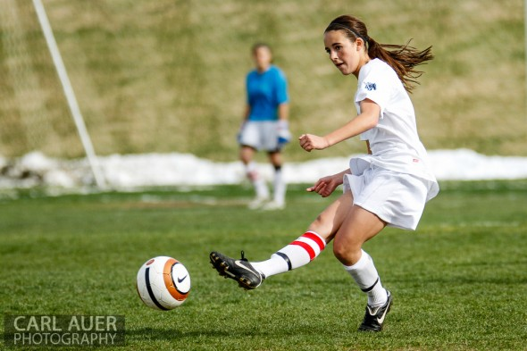 May 3rd, 2013: Ralston Valley Mustangs junior defender Shae Sellers (3) takes a free kick in the game against the Pomona Panthers at the North Area Athletic Complex in Arvada, Colorado