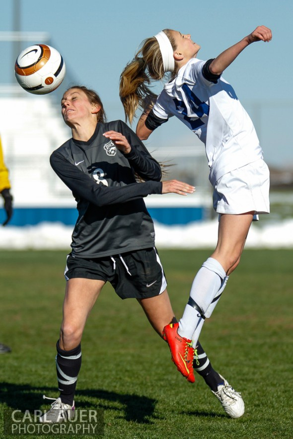 May 2nd, 2013: Ralston Valley Mustang freshman midfielder Alyssa Kaiser (24) and D'Evelyn Jaguars senior Olivia Hoffman (8) go after the ball in the game against the D'Evelyn Jaguars at the North Area Athletic Complex in Arvada, Colorado
