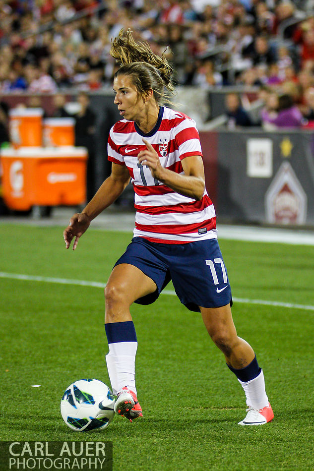 September 19, 2012 Commerce City, CO. - United States Women's National Team forward Alex Morgan controls the ball during the Soccer Match between the USA Women's National Team and the Women's Australian team at Dick's Sporting Goods Park in Commerce City, Colorado