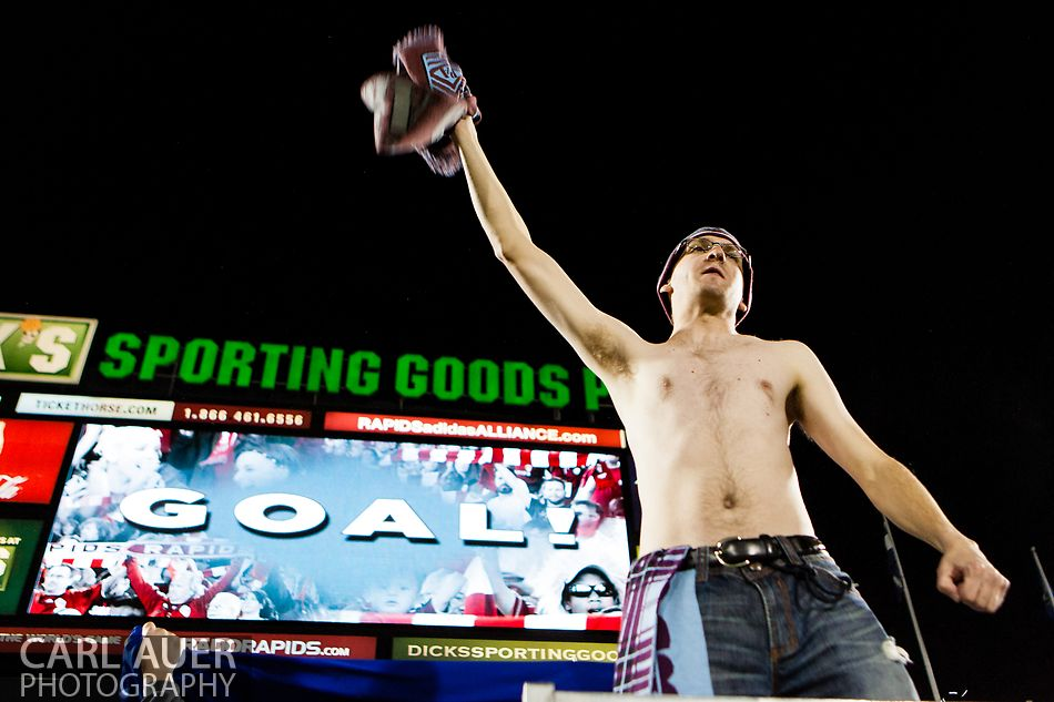 October 27, 2012: A Rapids fan celebrates a Colorado goal in the MLS Soccer Match between the Colorado Rapids and the Houston Dynamo at Dick's Sporting Goods Park in Commerce City, Colorado