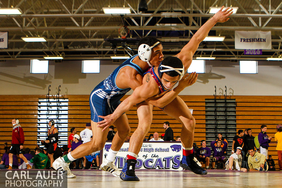 January 19, 2013 - Two wrestlers compete during the Arvada West Invitational at Arvada West High School.