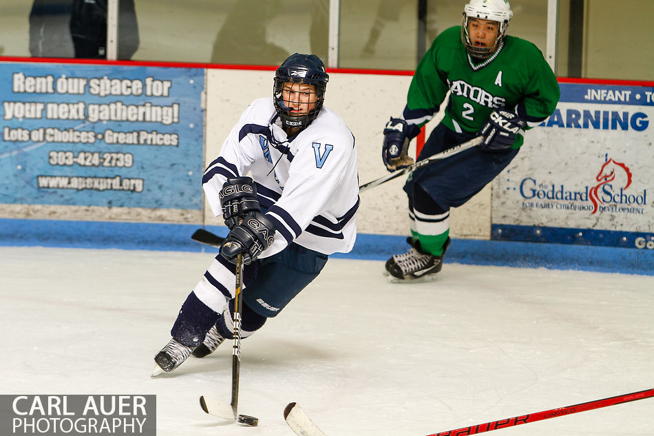 February 22, 2013 - On their way through the playoffs to the Colorado High School State Hockey title, the Ralston Valley Mustangs played their third game of the season against Standley Lake in the Elite Eight at the Apex Ice Arena in Arvada, Colorado