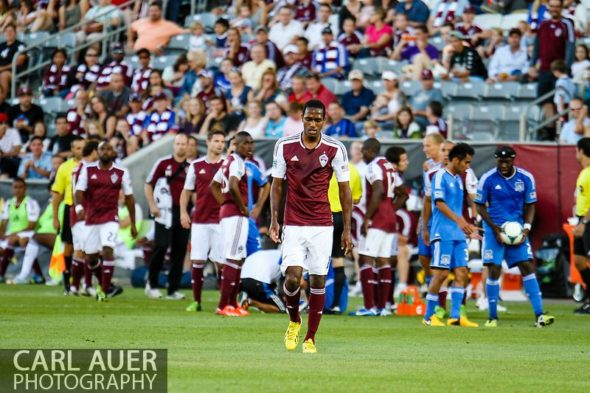 June 15th, 2013 - After receiving a red card, Colorado Rapids midfielder Atiba Harris (16) slowly walks off the field towards the locker rooms in the first half of the MLS match between San Jose Earthquake and the Colorado Rapids at Dick's Sporting Goods Park in Commerce City, CO