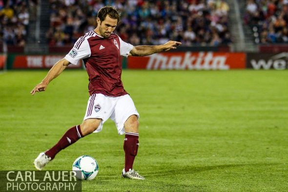 June 15th, 2013 - Colorado Rapids midfielder Brian Mullan (11) captured an assist with the crossing pass in the second half of action in the MLS match between San Jose Earthquake and the Colorado Rapids at Dick's Sporting Goods Park in Commerce City, CO