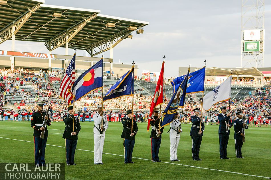 July 7th, 2013 - Members of all branches of the US Armed Forces form the Color Guard prior to the start of the Major League Soccer match between D.C. United and the Colorado Rapids at Dick's Sporting Goods Park in Commerce City, CO