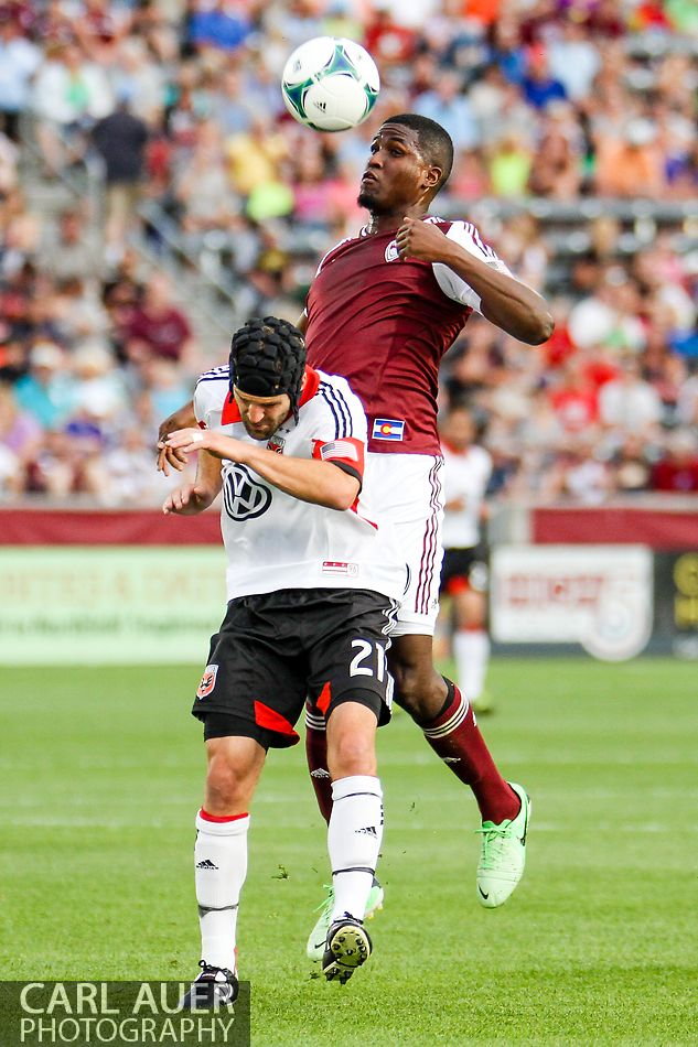 July 7th, 2013 - Colorado Rapids forward Edson Buddle (9) elevates above D.C. United defender Daniel Woolard (21) to gather in the ball in the first half of action in the Major League Soccer match between D.C. United and the Colorado Rapids at Dick's Sporting Goods Park in Commerce City, CO
