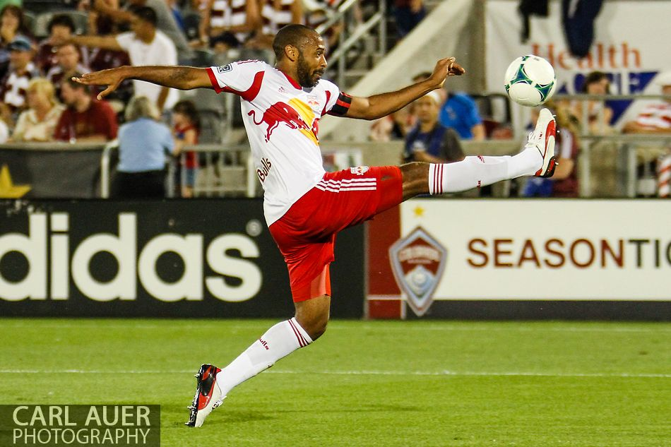 July 4th, 2013 - New York Red Bulls forward Thierry Henry (14) attempts to pull in a long pass in the corner during second half action of the Major League Soccer match between New York Red Bulls and the Colorado Rapids at Dick's Sporting Goods Park in Commerce City, CO