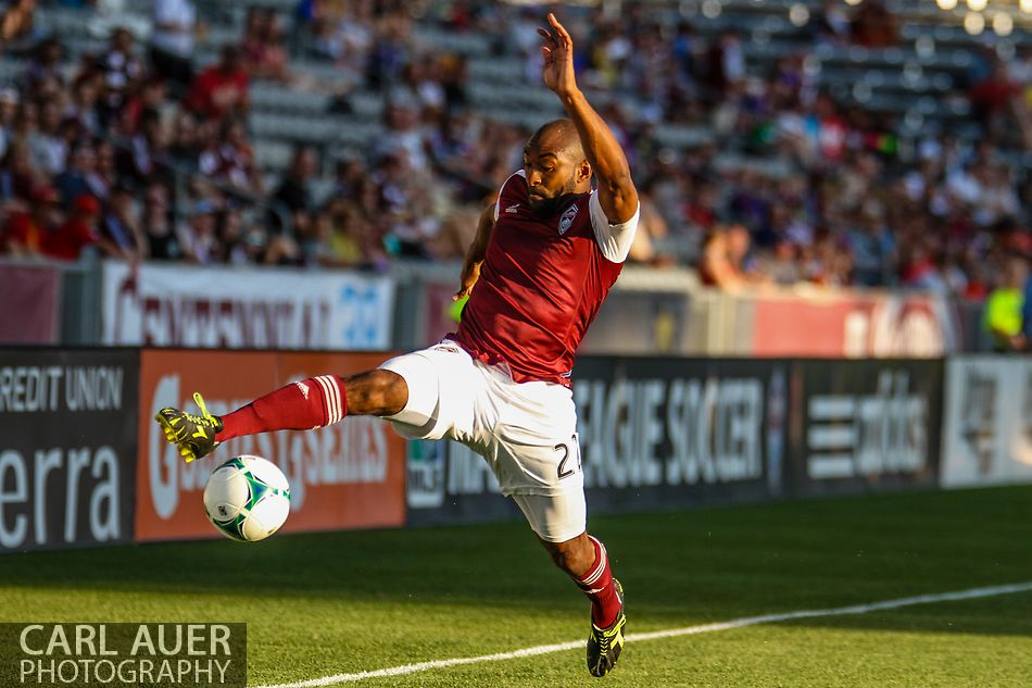 July 17th, 2013 - Colorado Rapids defender Marvell Wynne (22) stretches to reach the ball before it goes out of bounds in the first half of action in the Major League Soccer match between the New England Revolution and the Colorado Rapids at Dick's Sporting Goods Park in Commerce City, CO