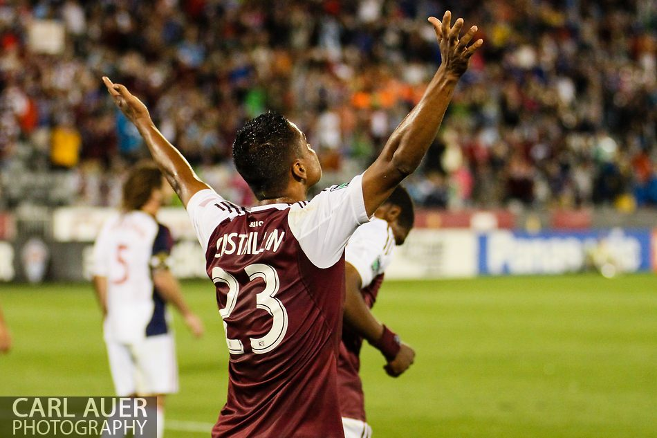 August 3rd, 2013 - Colorado Rapids midfielder Jaime Castrillon (23) celebrates his first goal of the season that tied the game 2-2 in the second half of the Major League Soccer match between Real Salt Lake and the Colorado Rapids at Dick's Sporting Goods Park in Commerce City, CO