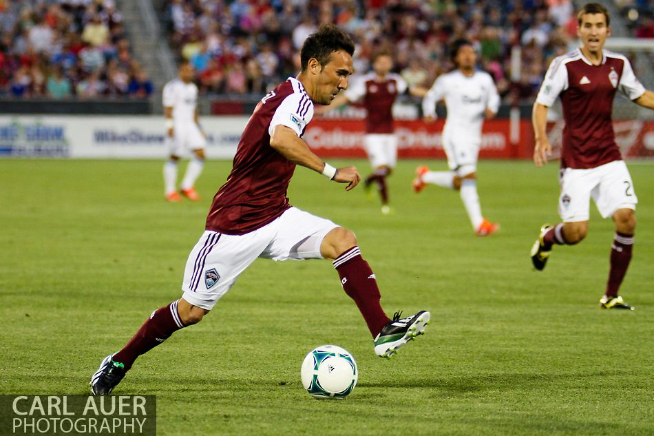 August 17th, 2013 - Colorado Rapids forward Vicente Sánchez (7) makes a move towards the goal in the first half of action in the Major League Soccer match between the Vancouver Whitecaps FC and the Colorado Rapids at Dick's Sporting Goods Park in Commerce City, CO